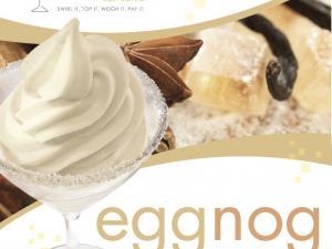 branded cup of eggnog yogurt
