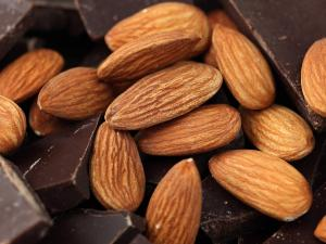 almonds and dark chocolate