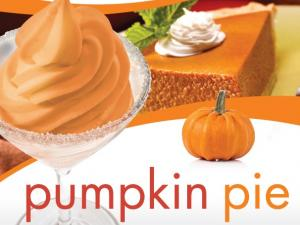 Pumpkin pie slice, and cup of pumpkin pie frozen yogurt.