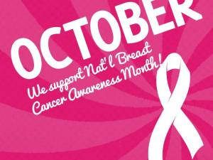 Pink Breast cancer awareness poster with October and the Yogurtini logo on it
